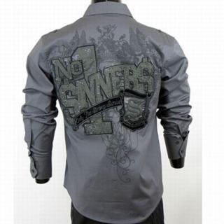 【摩達客】美國進口Born Sinners SP風尚銀灰長袖設計襯衫
