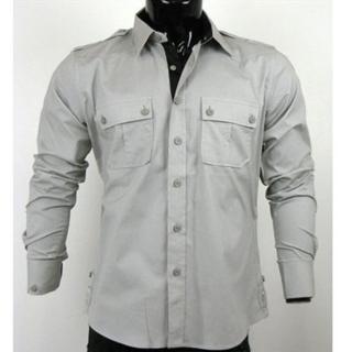 【摩達客】美國進口Born Sinners 401K時尚淡灰長袖襯衫