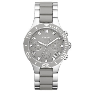 【DKNY】英式女爵魅力晶鑽三環腕錶(灰 NY8505)