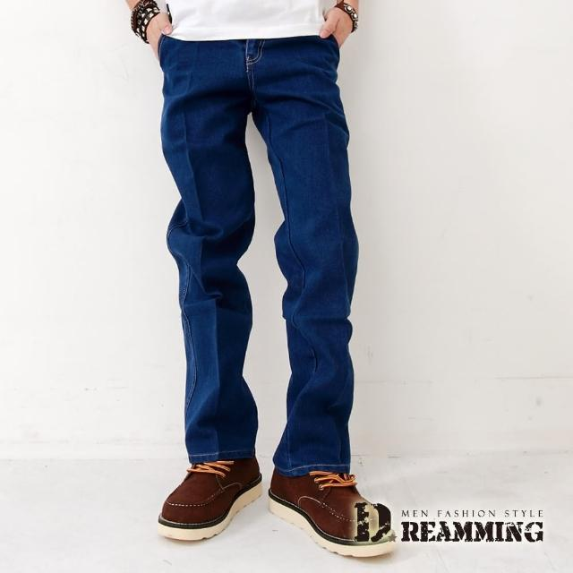 【Dreamming】厚磅斜口袋小直筒牛仔工作褲(藍色)