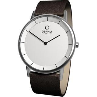 【OBAKU】纖薄哲學二針時尚腕錶(深咖啡V143GCIRN)