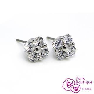 【約克精品】水漾之星方晶鋯石包銠金鈦金屬針式耳環(SGS認證)