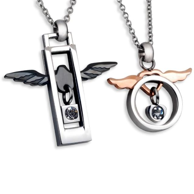 【E&I】-天使之翼-316L白鋼天使翅膀造型情侶項鍊/鋼練