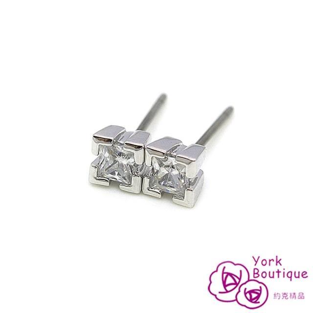 【約克精品】可愛結晶方晶鋯石包銠金鈦金屬針式耳環(SGS認證)