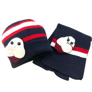 【iSFun】可愛蜜蜂*兒童圍巾+帽組(深藍)