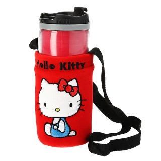【享夢城堡】汽車掛袋式隨身杯(HELLO KITTY 兜風紅-紅)