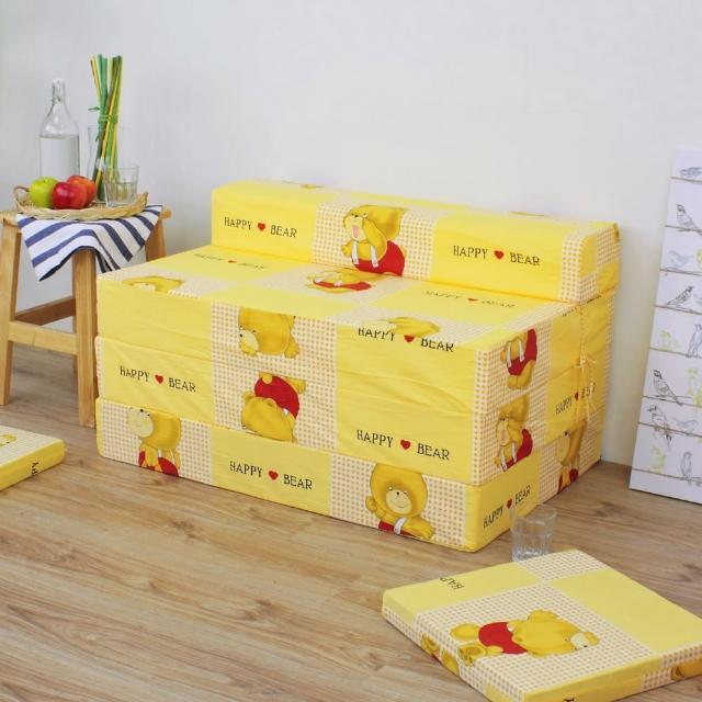 【快樂小熊】坐高40床長200公分-四折式沙發床/沙發椅(黃色)