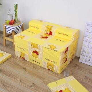 【快樂小熊】坐高30床長200公分-四折式沙發床/沙發椅(黃色-加贈布套*1)