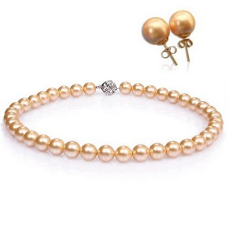 小樂珠寶-金色富貴款-3A南洋深海貝珍珠套組-超值款