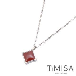 【TiMISA】紅瑪瑙-S號 純鈦鍺項鍊(E)