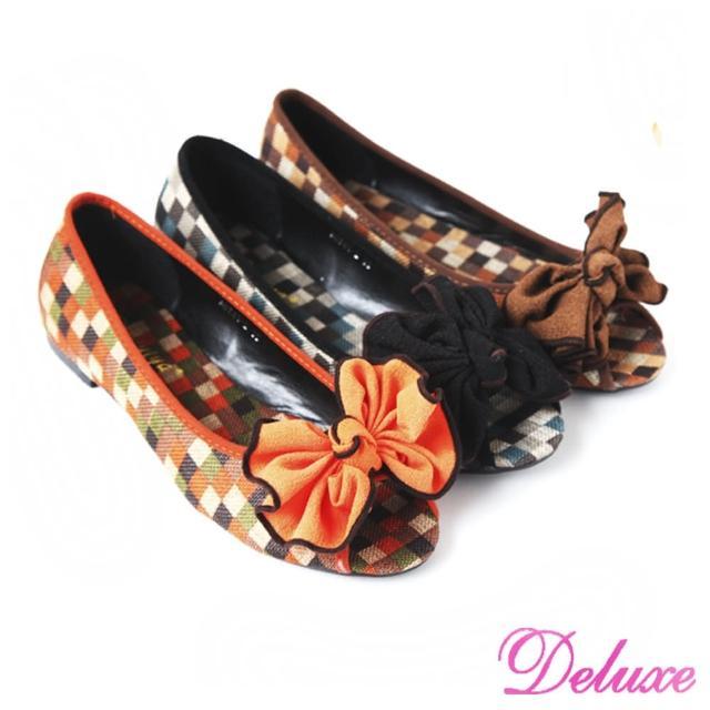 【☆Deluxe☆】童趣玩心‧經典棋盤格紋紐結魚口娃娃鞋(★三色)