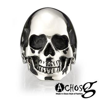 【ACHOS】Skulls水晶骷髏A 潮流西德鋼戒