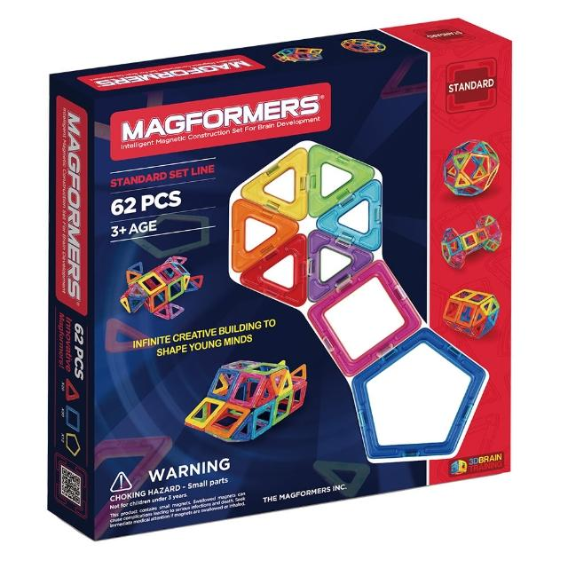 【MAGFORMERS】磁性建構片62片裝(贈專用輪架包+摩天輪支架)