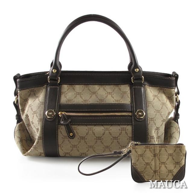 【Mauca】經典LOGO緹花造型釦飾手提包(咖啡色)