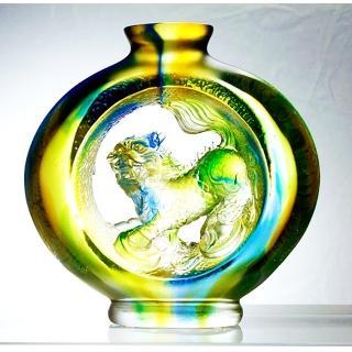 【開元琉璃】寶瓶麒麟 天賜鴻福(琉璃 附水晶台座)