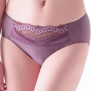 【思薇爾】綺麗系列M-XXL蕾絲中腰三角褲(藕紫色)