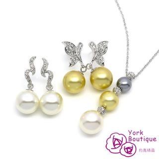 【約克精品】金碧輝煌施華洛元素晶鑽琉璃珍珠包銠金優雅組(SGS認證)