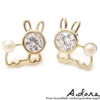 【A.dore】童話兔寶寶˙水晶珍珠耳環(金色系)