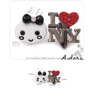 【A.dore】紐約Bunny兔˙個性鑽飾耳環(紅色甜心)