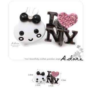 【A.dore】紐約Bunny兔˙個性鑽飾耳環(粉紅甜心)