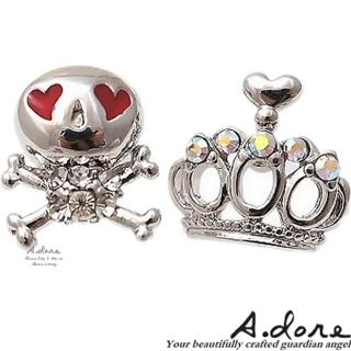 【A.dore】甜心眼龐克˙皇冠骷顱頭耳環(銀紅色系)