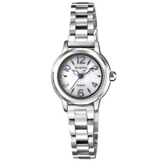 【CASIO】SHEEN系列 光采風靡太陽能都會腕錶(銀紫 SHE-4502SBD-7ADR)
