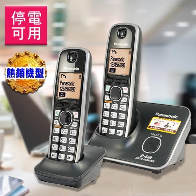 【Panasonic 2.4G 大字體 / 斷電可用】數位高頻雙手機無線電話(KX-TG3712經典黑)
