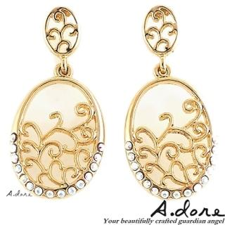 【A.dore】拜占庭戀人˙雕花水晶圓鑲耳環(金色系)
