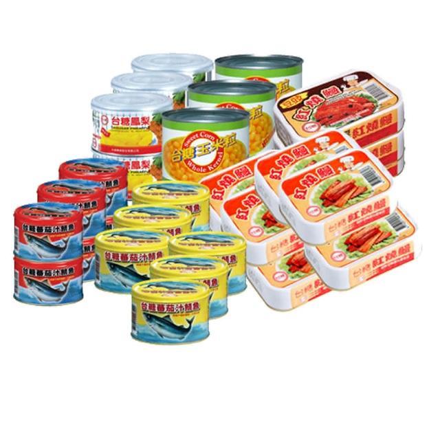 【台糖】超值十件組(蕃茄汁鯖魚黃罐/台糖玉米粒/鳳梨罐頭/蕃茄汁鯖魚紅罐/紅燒鰻魚)