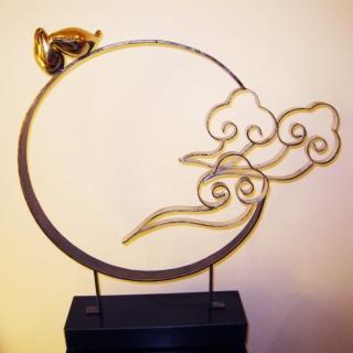 【開運陶源】*創意時尚歐風*不鏽鋼/黃銅金屬雕塑(觀雲鳥)