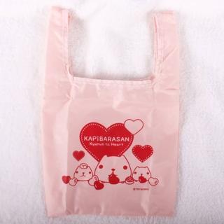 【Kapibarasan 】水豚君愛心印花防水購物袋 -小(粉紅)