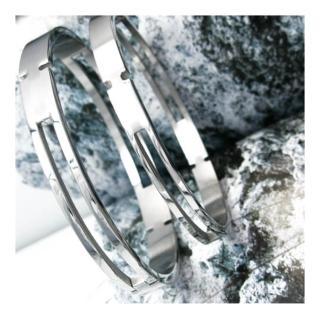 【微笑安安】極簡鏤空西德鈦鋼壓扣式手環(共2款)