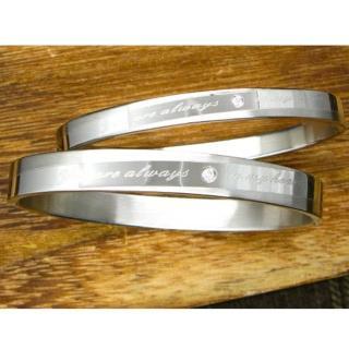 【微笑安安】霧亮相間刻字西德鈦鋼壓扣式手環(共2款)