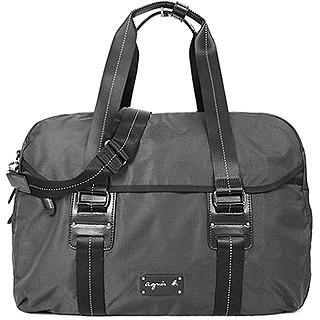 【agnes b.】皮標雙槓環扣旅行袋(黑)