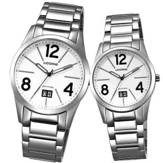 【LICORNE】情人時光大日期對錶-白(LB931LWWA-1+LB931MWWA-1)