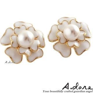 【A.dore】情定巴黎˙香奈珍珠山茶花耳環(經典白)