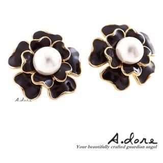 【A.dore】情定巴黎˙香奈珍珠山茶花耳環(經典黑)