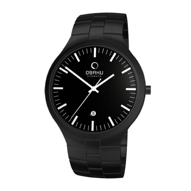【OBAKU】自信探索日期時尚腕錶(全黑V151GBBSB)