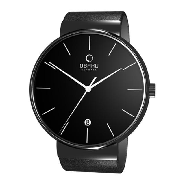 【OBAKU】純粹經典三針日期時尚腕錶(全黑V153GBBRB)