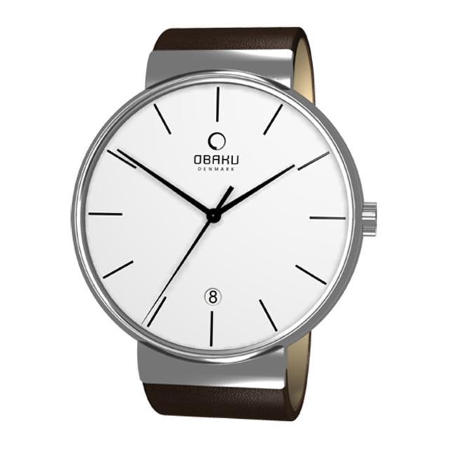 【OBAKU】純粹經典三針日期時尚腕錶(深咖啡V153GCIRN)