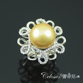 【蕾帝兒名品】絕麗之花金色貝珠戒指