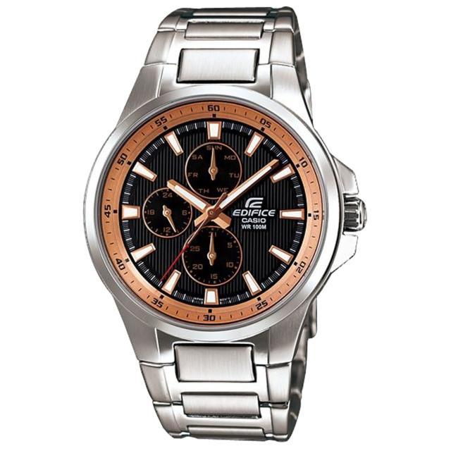 【CASIO】EDIFICE 紳士饗宴都會時尚運動錶(銀玫瑰金 EF-342D-1A5VDF)