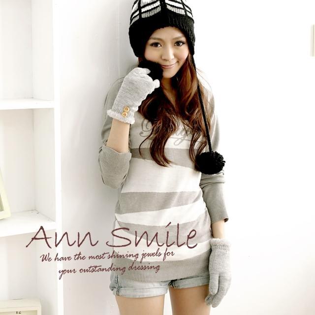 【微笑安安】毛絨內裡-雙扣毛邊亮蔥針織手套(共7色)