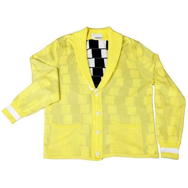 【摩達客】美國LA設計品牌Suvnir黑白格紋雙面針織衫外套
