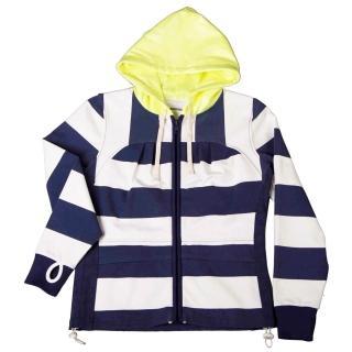 【摩達客】美國LA設計品牌(Suvnir)藍白橫紋女版連帽外套