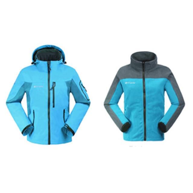 【PUSH!】機能服飾 防水 防風 透氣 保暖 外套防風雨大衣(女款) (兩件套  藍色)