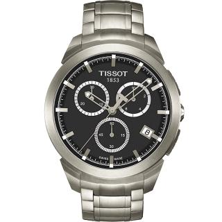 【TISSOT】T-SPORT 鈦金屬三眼計時腕錶-黑(T0694174406100)