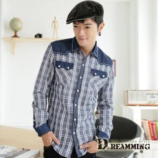 【Dreamming】格紋拼接壓釦長袖牛仔休閒襯衫(共二色)