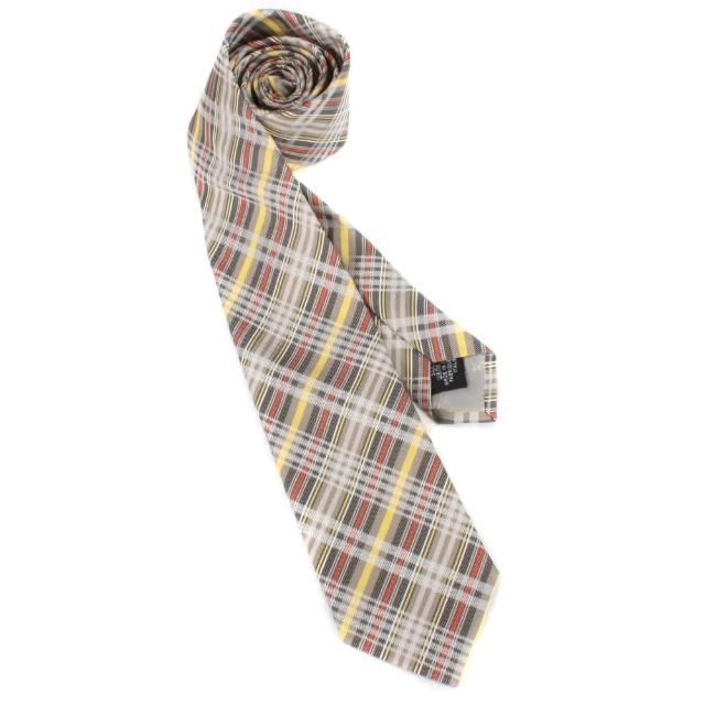 【Vivienne Westwood】新款斜格紋多線條絲質領帶(灰/淺咖)