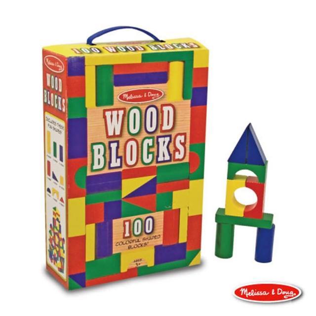 【美國 Melissa & Doug】 彩色木製積木(100 PCS)